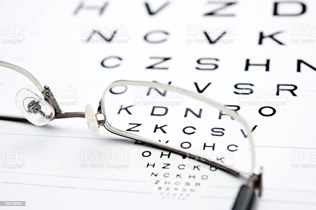 eyeglasses with test chart royalty-free stock photo