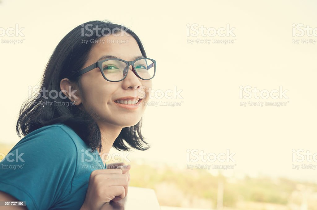 Eyeglasses woman looking to camera stock photo