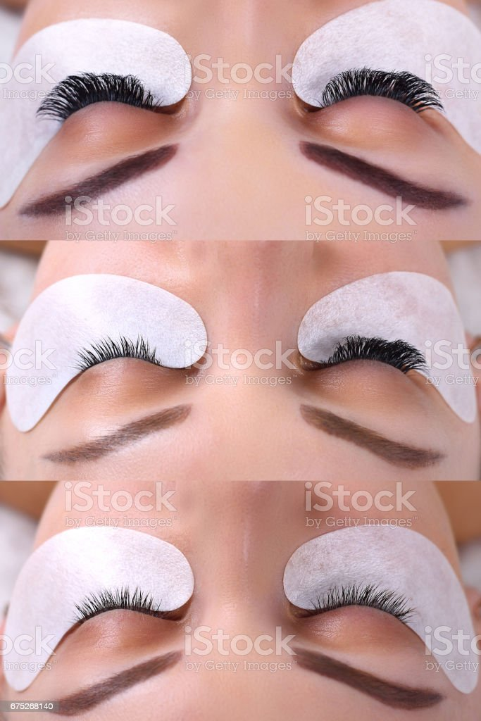 Eyelash Extension. Comparison of female eyes before and after stock photo