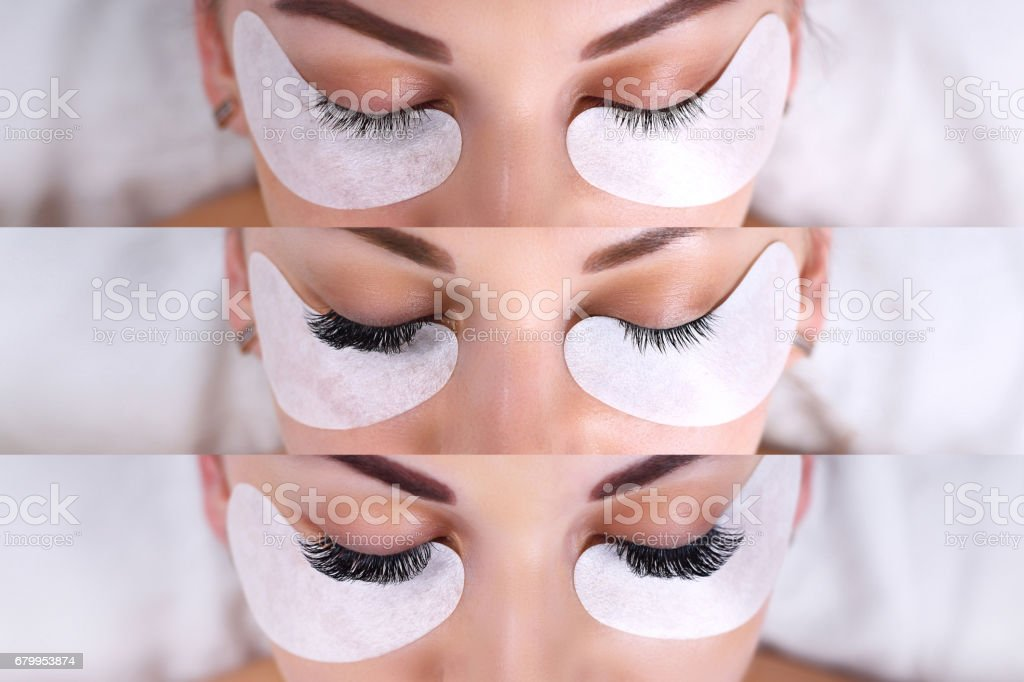 Eyelash Extension Procedure. Comparison of female eyes before and after stock photo