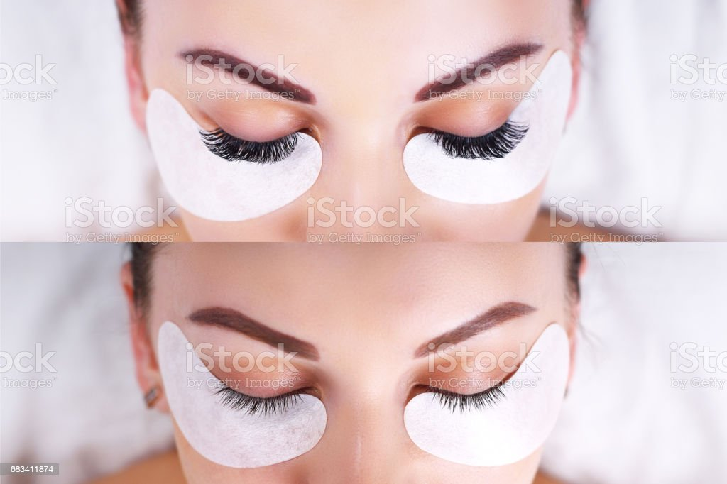 Eyelash Extension Procedure. Female eyes before and after stock photo