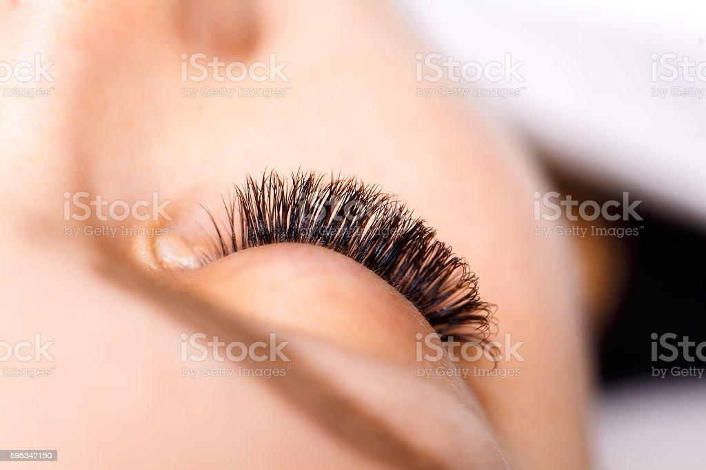 Eyelash Extension Procedure. Woman Eye with Long Eyelashes. Lashes. stock photo