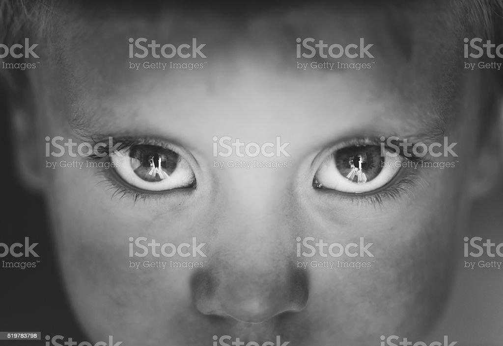 Eyes close-up little boy stock photo