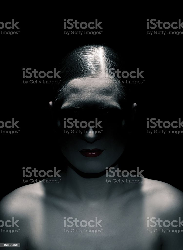eyes in shadow royalty-free stock photo
