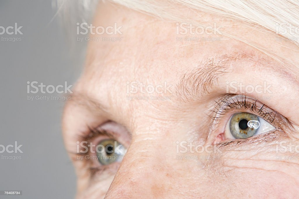 Eyes of a senior woman stock photo