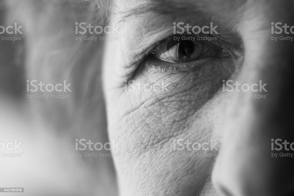eyes of an elderly woman stock photo