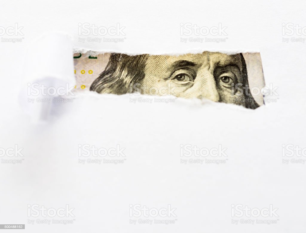 Eyes of Benjamin Franklin stock photo