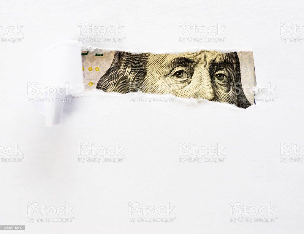 Eyes of Benjamin Franklin stock photo