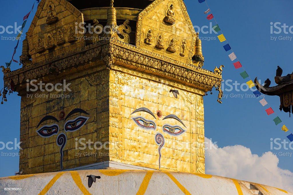 Eyes of Buddha. Wisdom eyes of Buddha in Swayambhunath Stupa stock photo