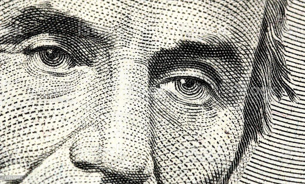 Eyes of Honest Abe - $5 Bill stock photo