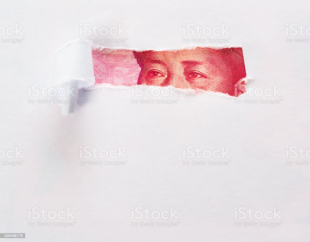 Eyes of mao from chinese 100 yuan bill stock photo