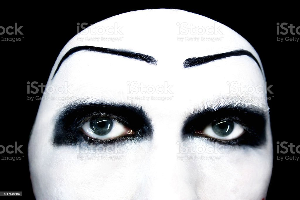 Eyes of the mime close up royalty-free stock photo