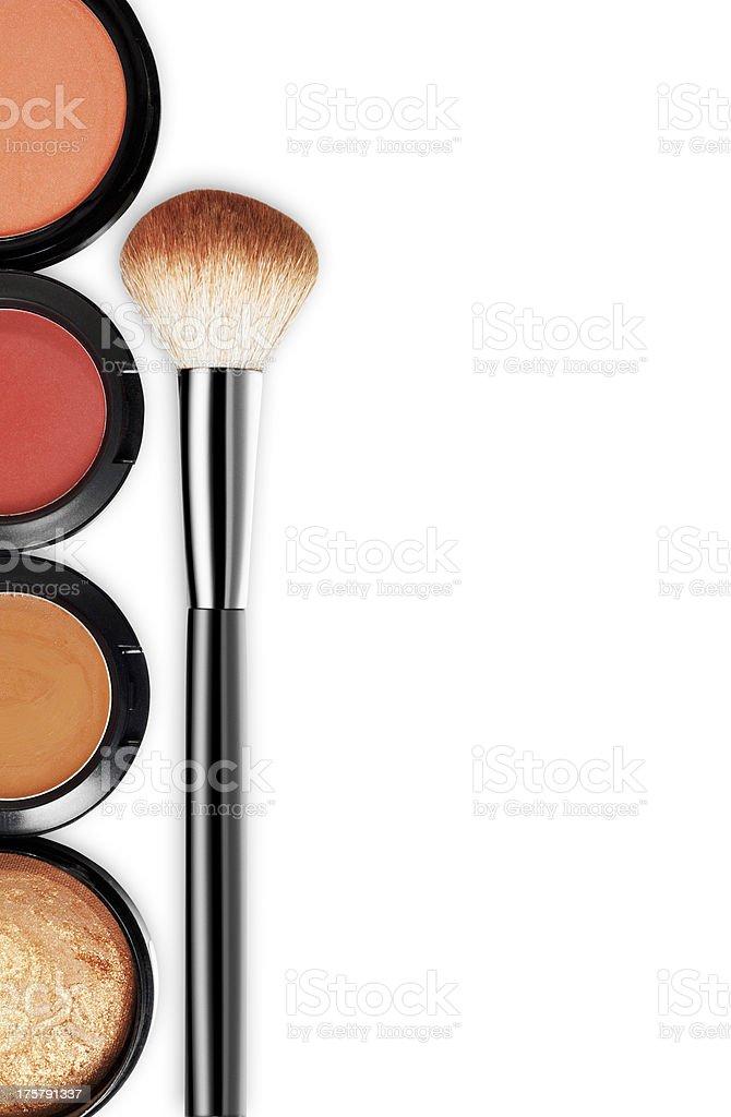 Eyeshadow and brush on white background stock photo