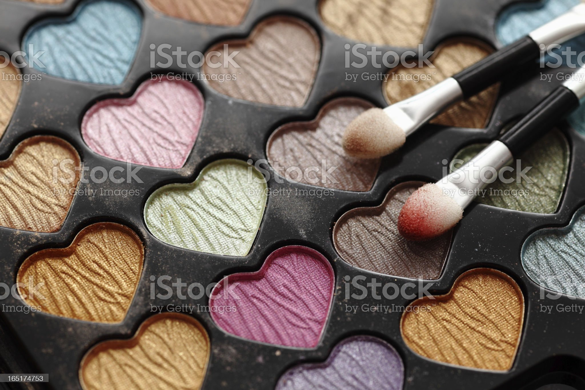 Eyeshadow heart shaped palette with applicators. royalty-free stock photo