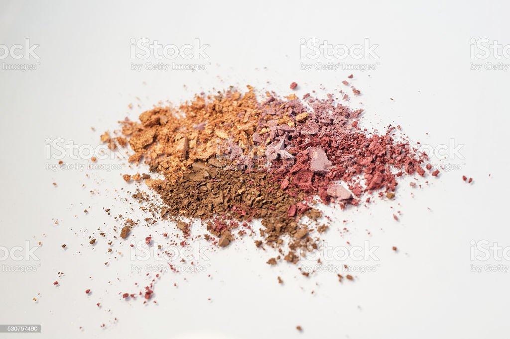 eyeshadow makeup powder pink, rose, brown, neutral stock photo