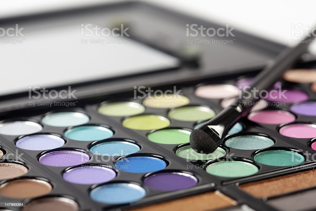 Eyeshadow Pallet and Brush royalty-free stock photo