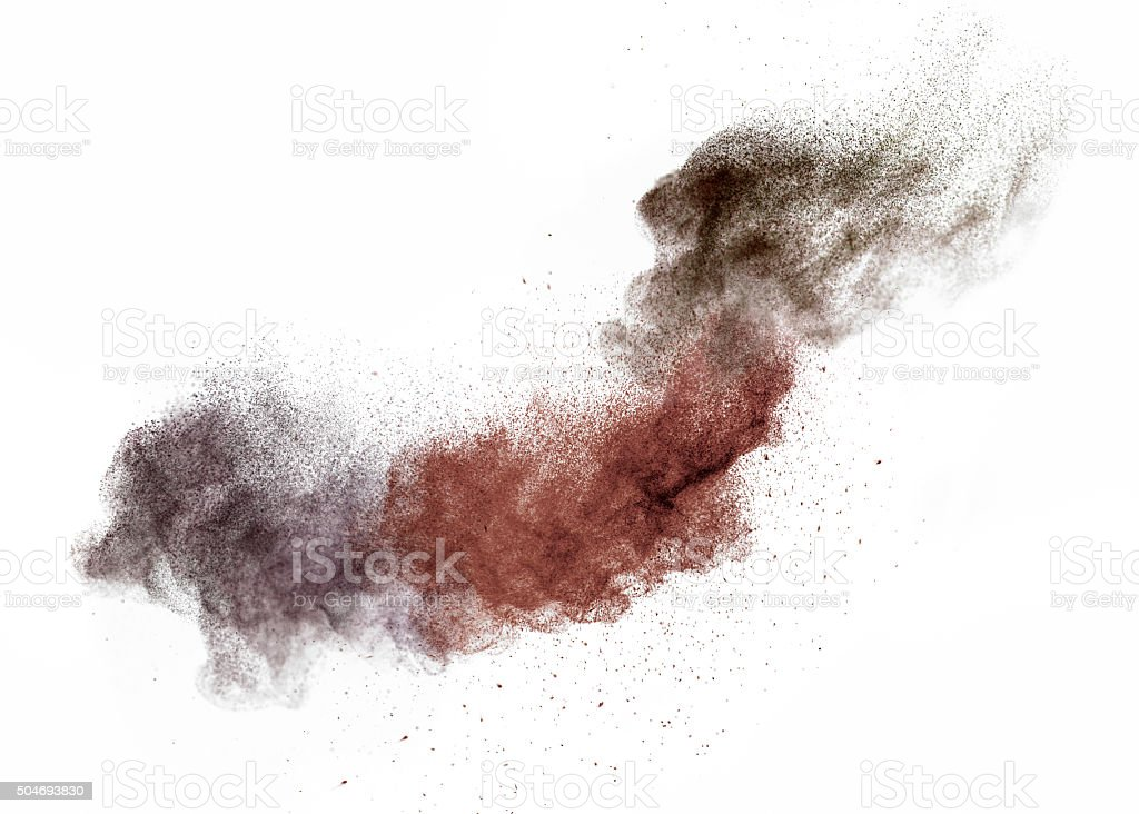 eyeshadow powder in motion stock photo