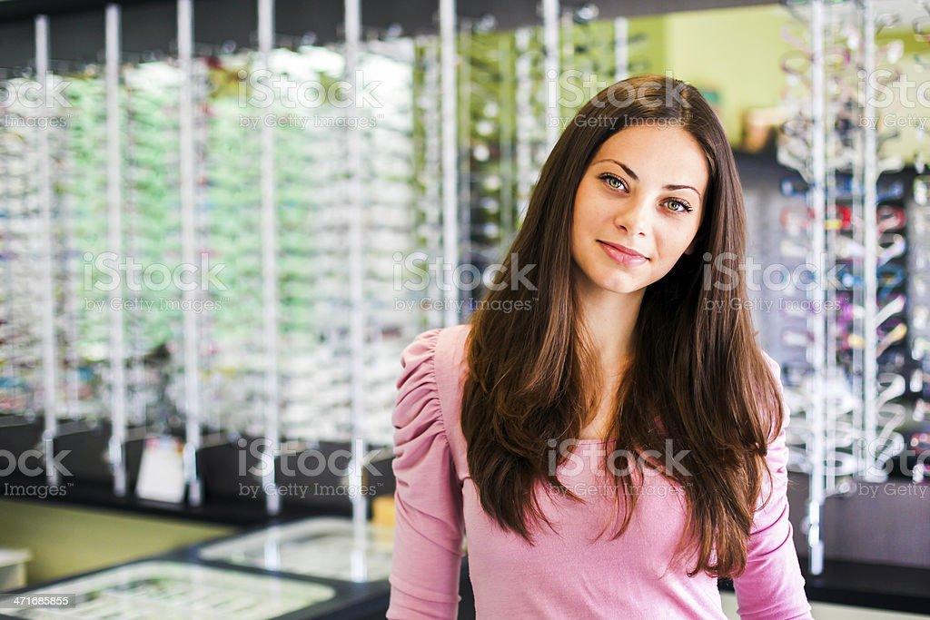 Eyewear saleswoman royalty-free stock photo