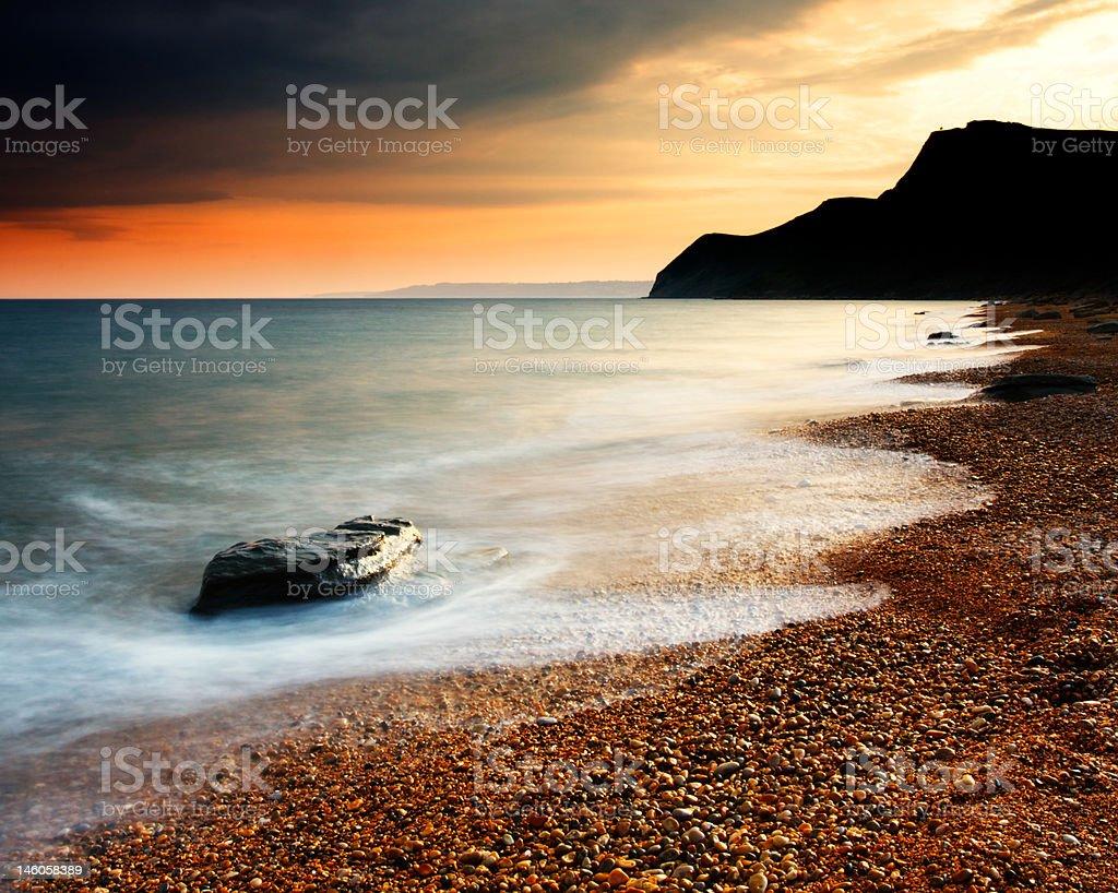 Eype Beach Sunset stock photo