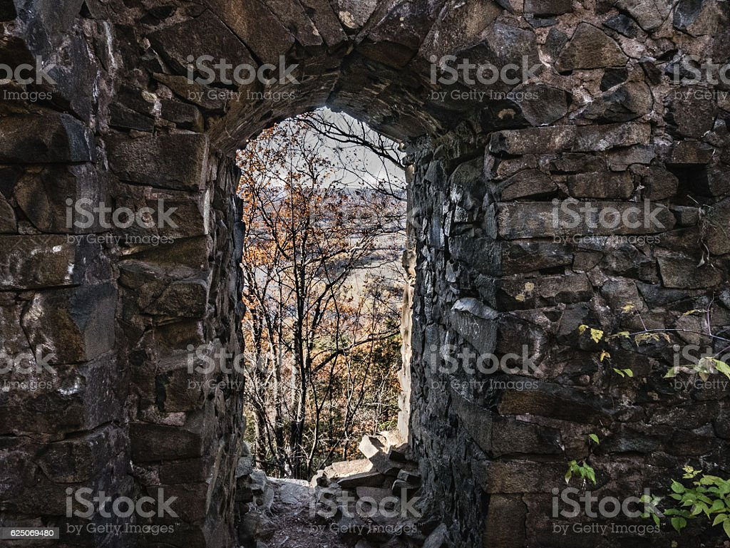 Eyrie House Ruins, November View stock photo