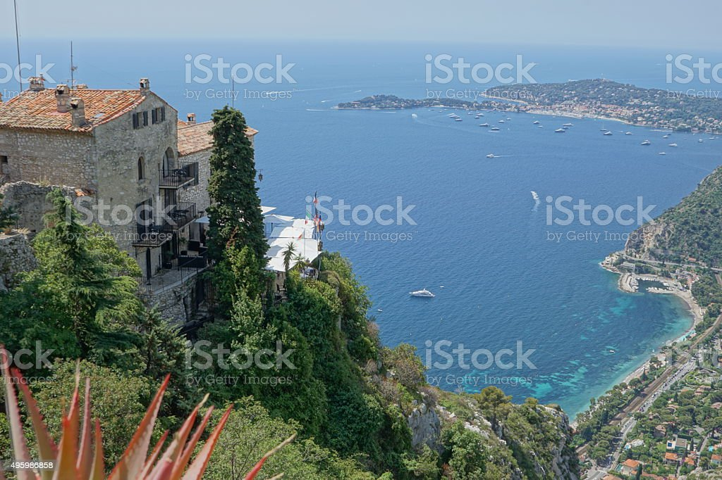 Eze, France - View of sea and buildings stock photo