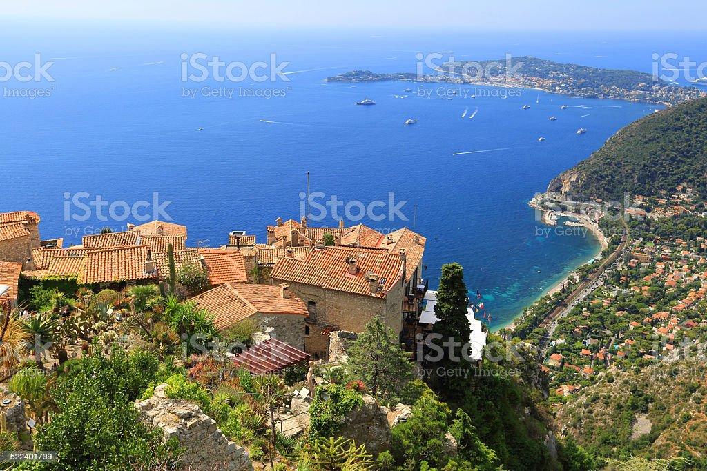 Eze village and Mediterranean Sea,  French Riviera stock photo
