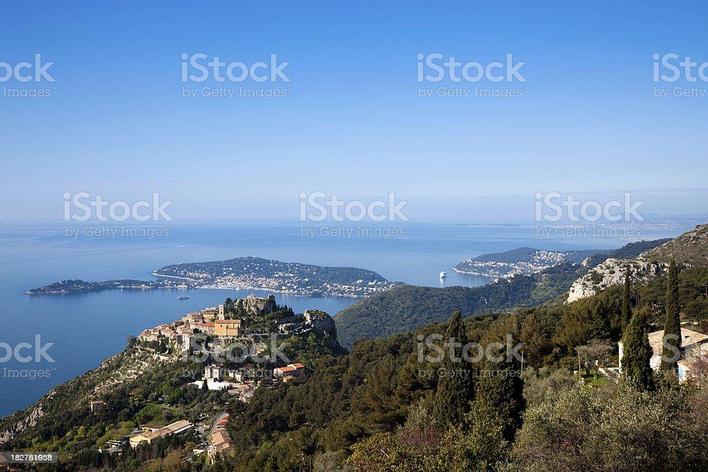 Eze Village and Saint Jean Cap Ferrat Panoramic stock photo