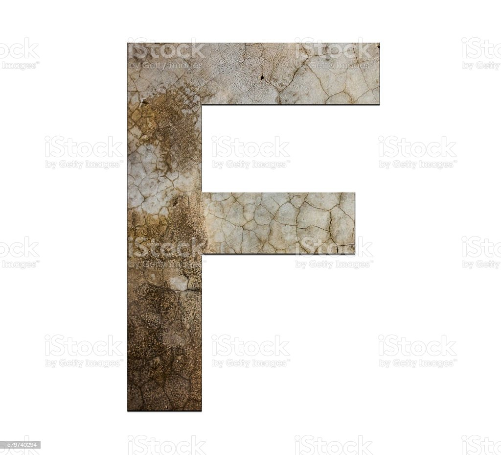f letter cracked cement texture isolate stock photo