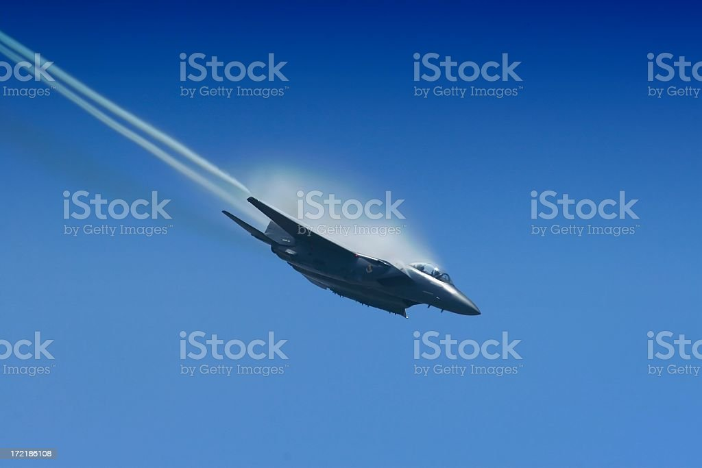 f-15 Jet fighter diving hard toward the deck stock photo
