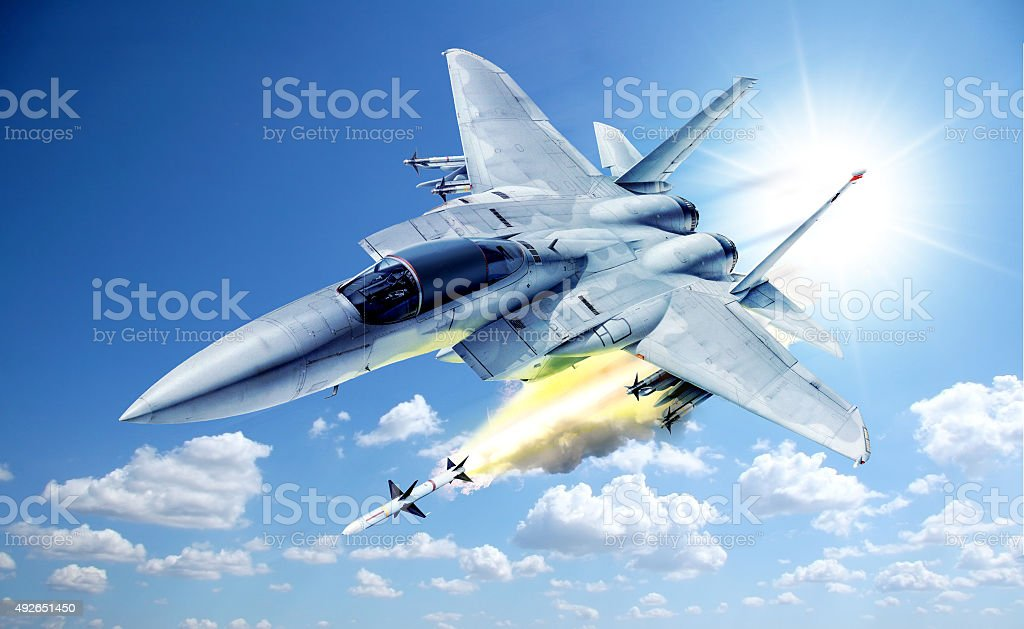 f-15 war plane - Launched rocket stock photo
