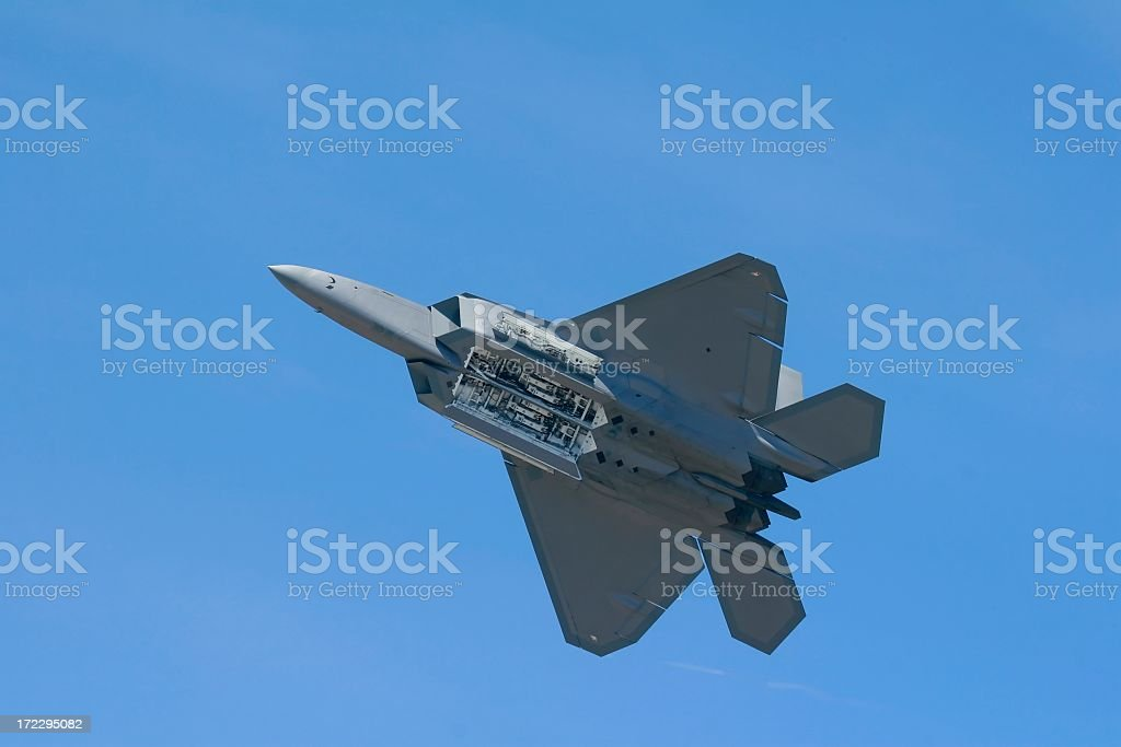 F-22a raptor under belly with doors open stock photo