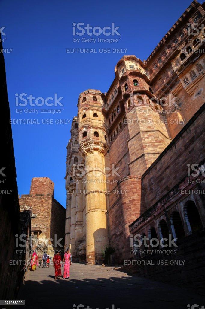 Façade of Mehrangarh Fort - Jodhpur stock photo