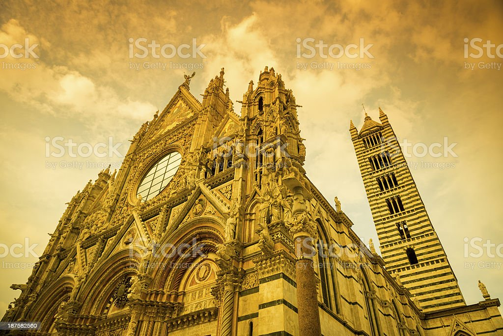 Façade of Siena Cathedral, Italy royalty-free stock photo
