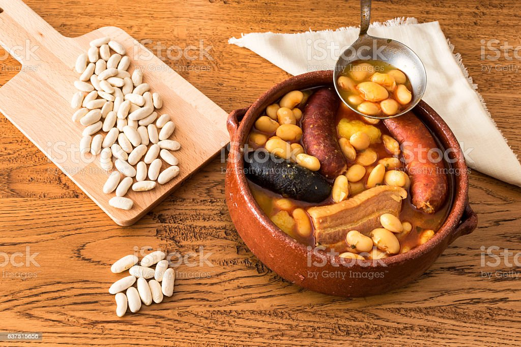 Fabada Asturiana (Asturian beans) stock photo