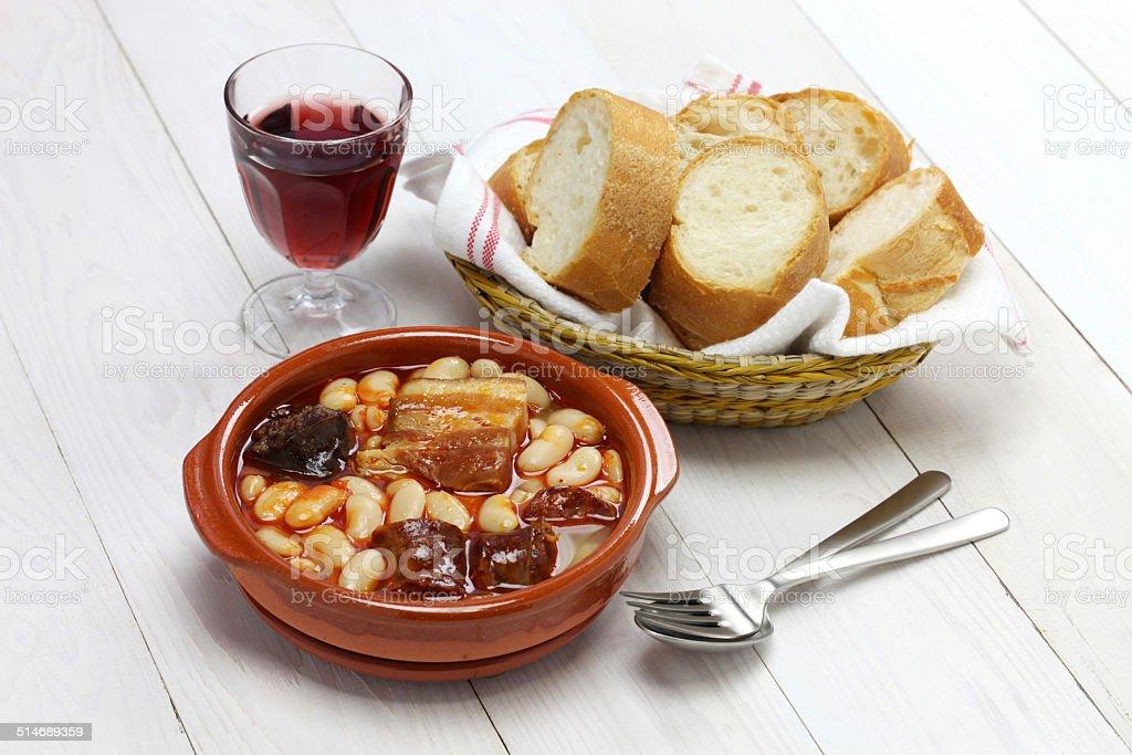 fabada asturiana, spanish white bean stew stock photo