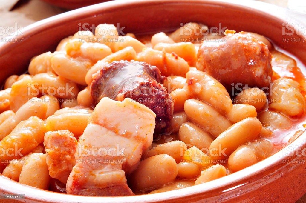 fabada asturiana, typical spanish bean stew stock photo
