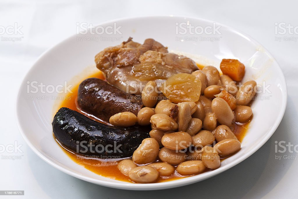 Fabada typical spanish meal stock photo