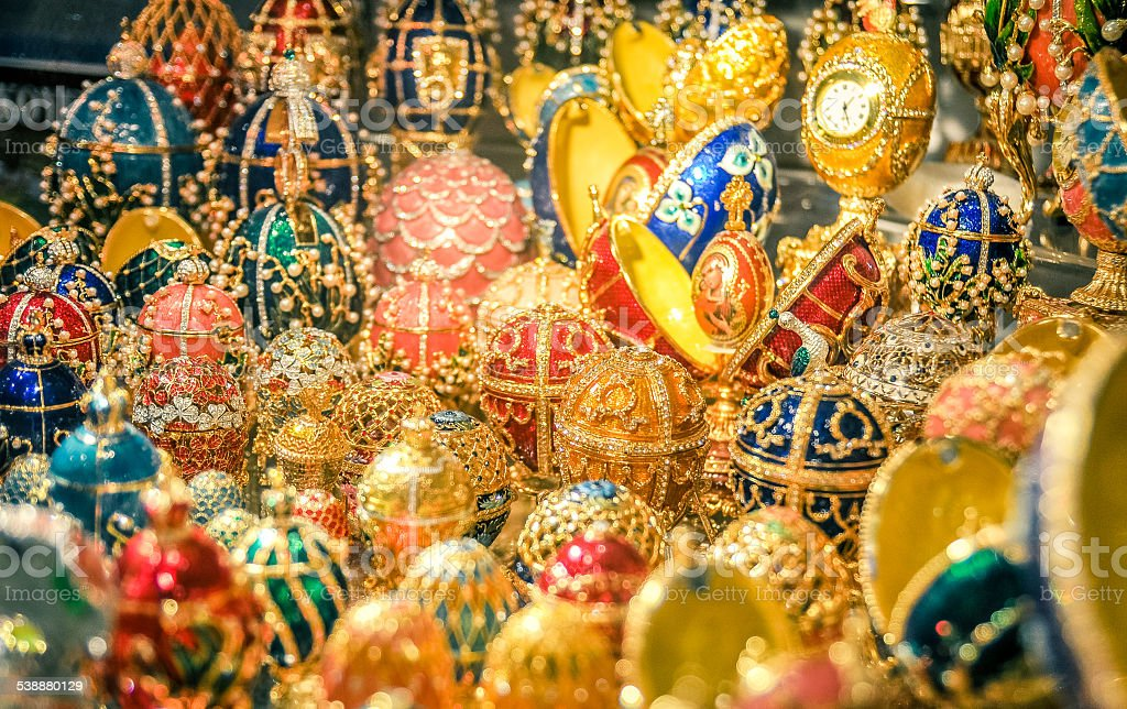 Faberge eggs russian stock photo