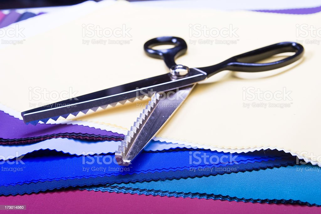 fabric and sewing scissors royalty-free stock photo