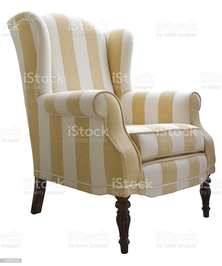Fabric arm chair stock photo