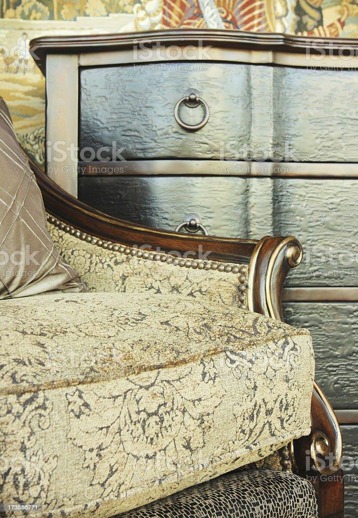 Fabric Armchair Bureau Drawer Decor stock photo