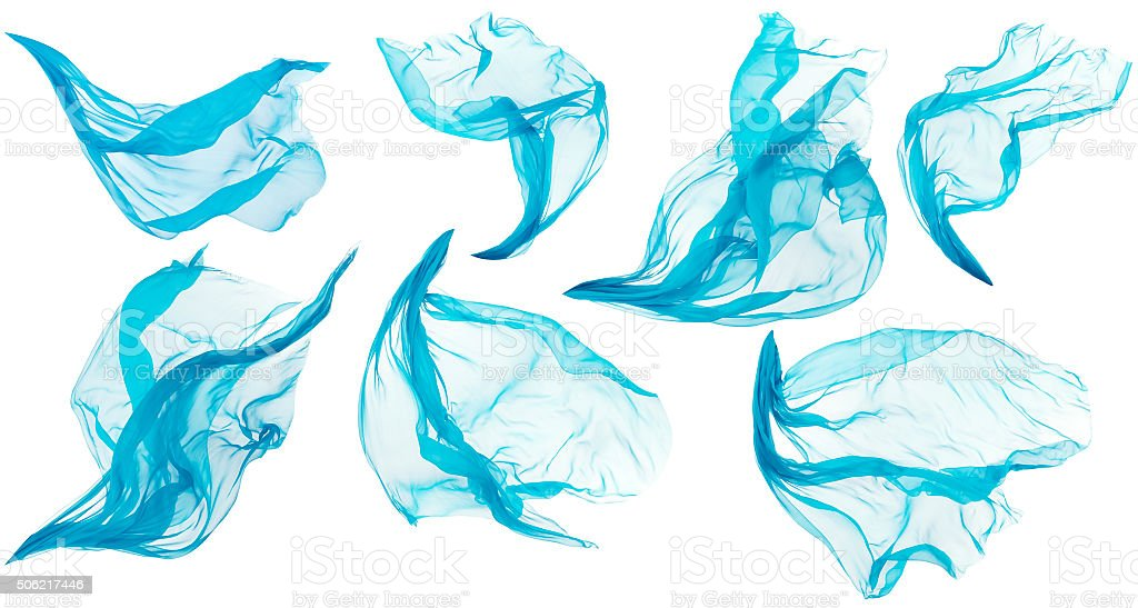 Fabric Cloth Flowing Flying, Cyan Silk Set Textile Pieces, White stock photo