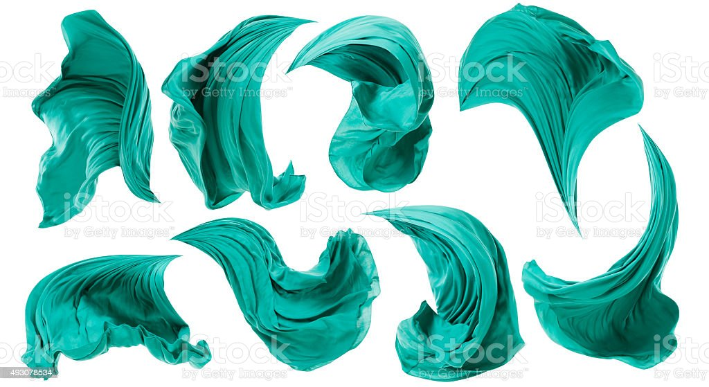 Fabric Cloth Flowing on Wind, Textile Wave Flying Motion, White stock photo