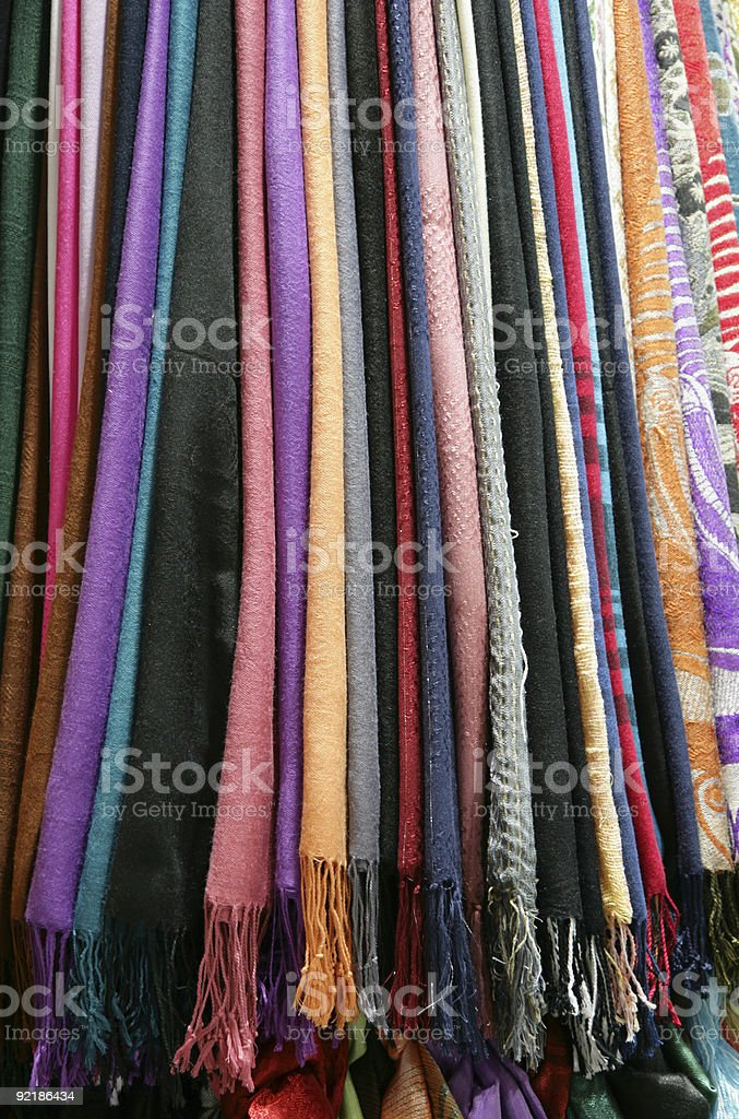 fabric, Color scarfs royalty-free stock photo
