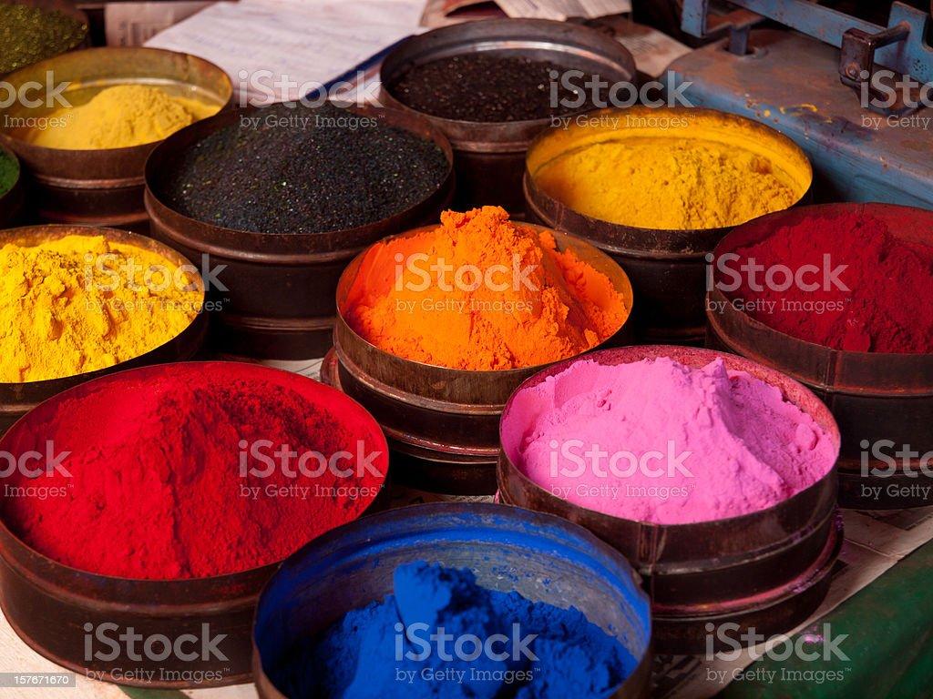 Multi-coloured fabric dyes in Cuzco, Peru