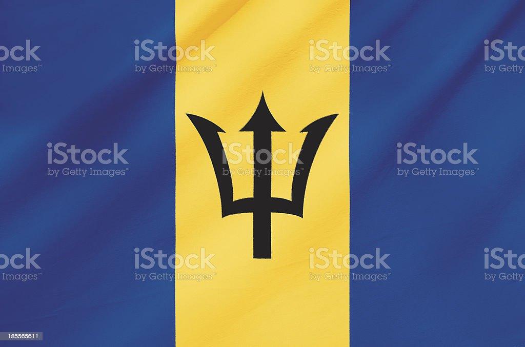 Fabric Flag of Barbados stock photo