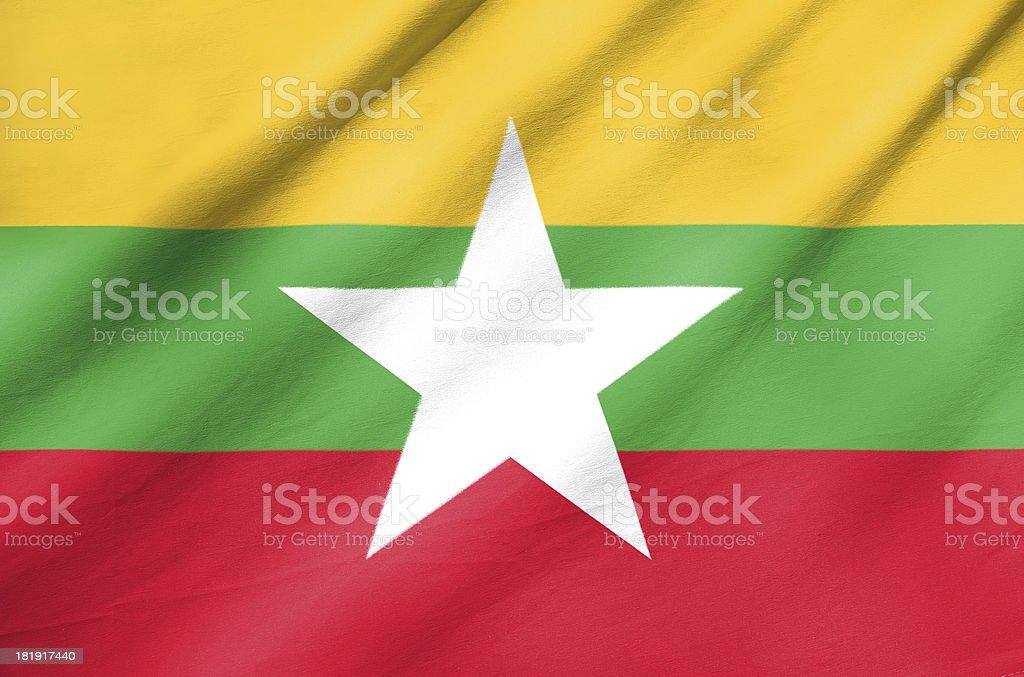 Fabric Flag of Myanmar royalty-free stock photo