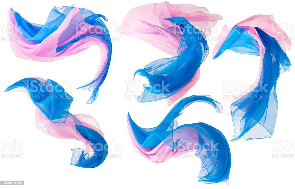 Fabric Flowing Cloth Wave, Silk Waving Satin, Pink Blue White stock photo