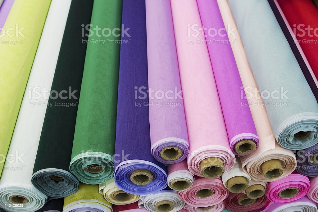 Fabric rolls stock photo