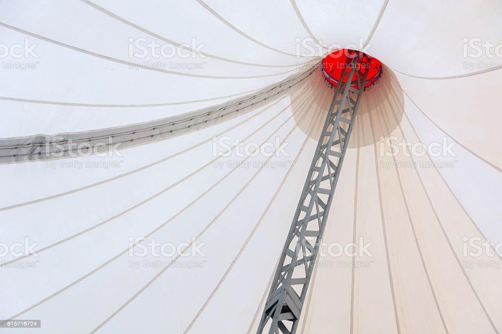 fabric roof in the form of a beige tent. stock photo